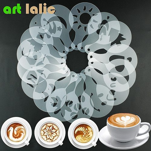 16Pcs Mold Coffee Milk Cake Cupcake Stencil Template Coffee Barista Cappuccino Template Strew Pad Duster Spray Tools