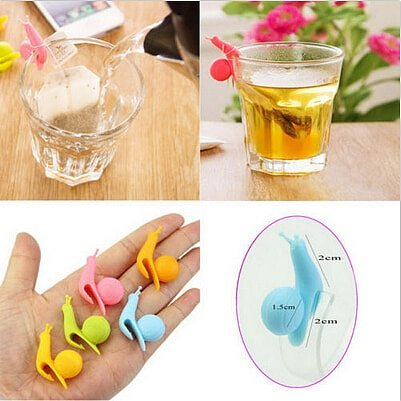 5 PCS/set Reuseable Food safe Silicone Cup Mug Cartoon Snail Shape Tea Bag Holder Candy Colors Gift Set Tea Tools