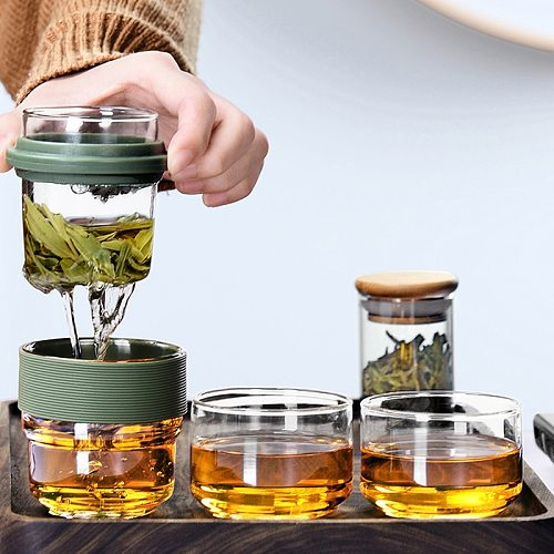 Water bottle Travel Bag Chinese Tea set gaiwan teapot teacups Glass fair mug tea sets ceramic fot gift puer Drinkware