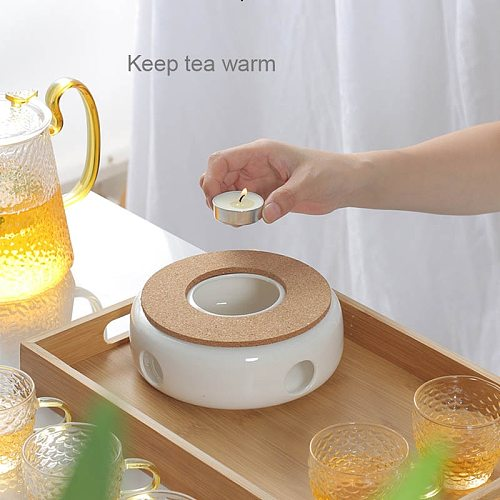 BORREY Ceramic Teapot Warmer Holder Base Tea Warmer Insulation Base Tea Coffee Water Warmer Candle Heating Base Holder Teaware