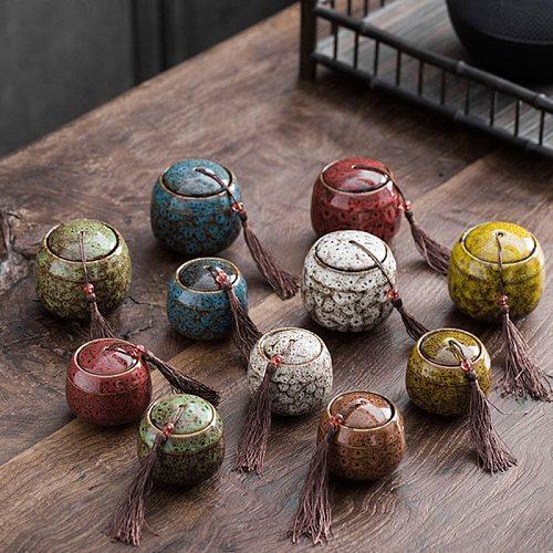 Ceramic Tea Caddy Travel Portable Small Tea Pot Jar Tea Box Sealed Storage Jar Teaware Home Decor Gift for Friend