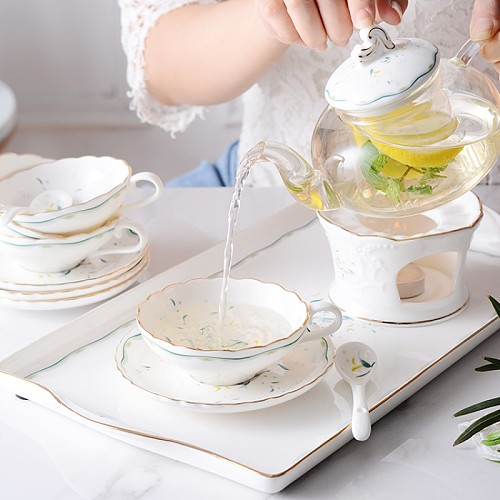 European coffee cup suit household ceramic cup British tea set flower tea cup afternoon tea cup Cup Saucers with spoon
