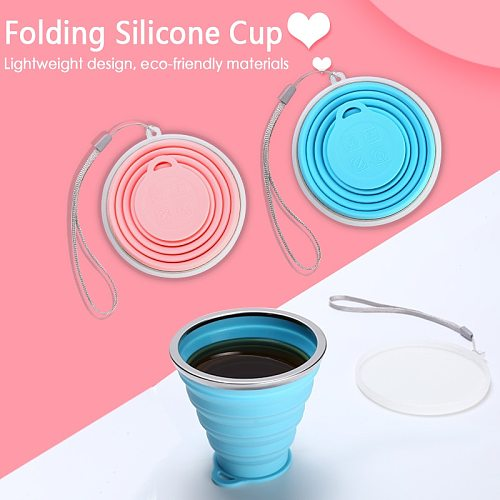 180/250ML Silicone Travel Cup Retractable Folding Coffee Cup Telescopic Collapsible Tea Cup Outdoor Sports Tour Water Cup