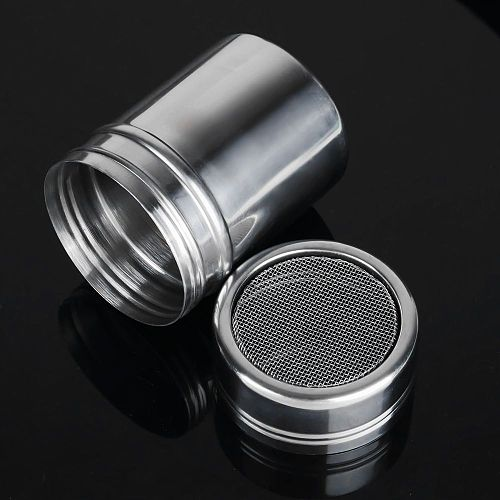 1pc Stainless Steel Chocolate Shaker Cocoa Flour Coffee Sifter+16Pcs Coffee Template Strew Flower Pad Spray Art Coffee Tools ZXH