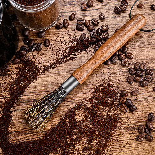 1Pcs Wood Handle Coffee Machine Cleaning Brush Bean Grinder Powder Cleaner Espresso Machine Brush Household Gadgets Bar Tool New