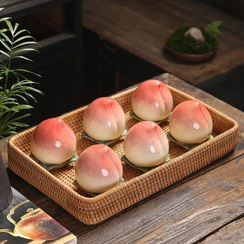 Ceramic Longevity Peach Tea Caddy Peach Airtight Jar Decoration Tea Container