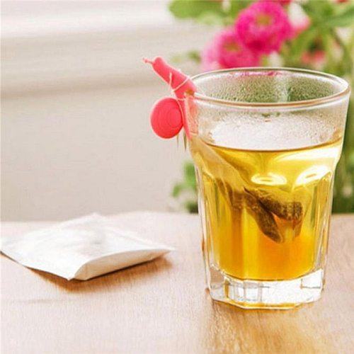 5 Pcs /Set Cute Snail Shape Silicone Tea Bag Holder Cup Mug Candy Colors Gift Set GOOD Random Color Tea Bag Holder