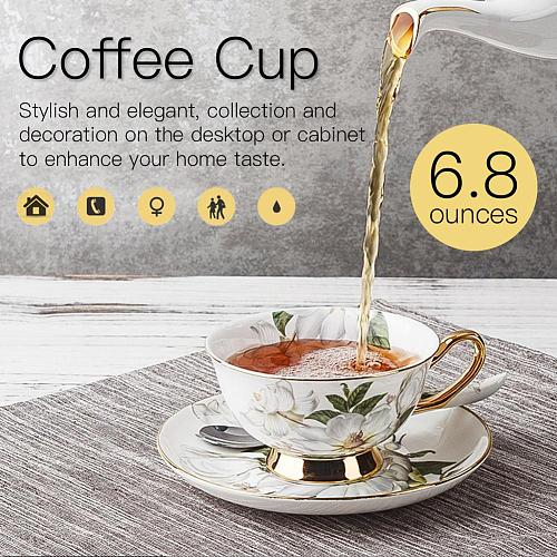 European Style Bone Porcelain Coffee Cup Set Vintage Ceramic Afternoon Tea Cup Saucer Spoon Luxury Gift For Cafe Shop Home