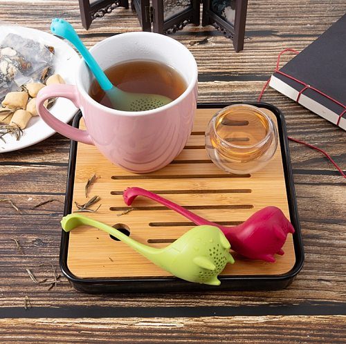 Tea Infuser Silicone Handle Strainer Filter Loose Tea Steeper Dinosaur Loose Leaf Tea Infusers with Long Handle SiliconeStrainer