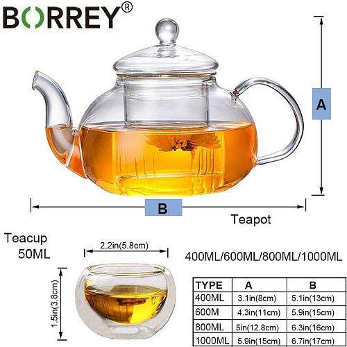 BORREY Glass Tea Set Heat Resistant Glass Tea Infuser Tea Pot Double Wall Glass Cup Kung Fu Tea Set Puer Kettle Gas Stove Teapot