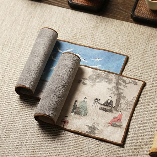 Chinese high-grade tea towel cloth tablecloth water absorbent mat pot towel tea mat thickened tea tray table accessories towel