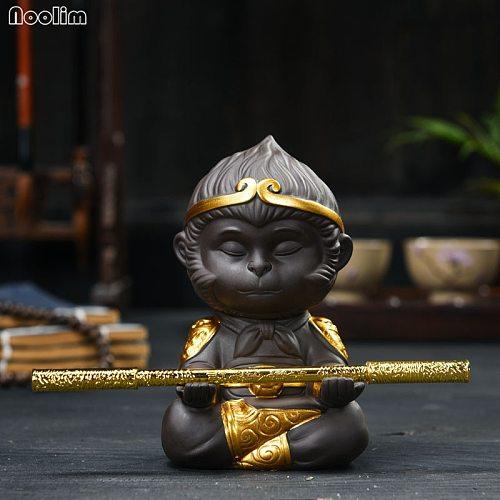 NOOLIM Chinese Purple Clay Kung Fu Small Teaset Creative Monkey King Tea Pet Animal Statue Home Decoration Ornaments