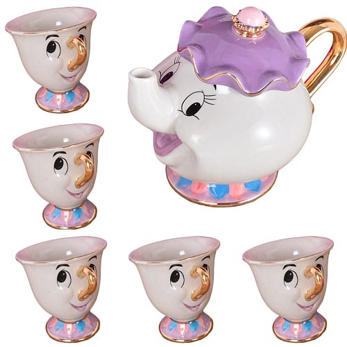 Cartoon Beauty And The Beast Tea Set Mrs Potts Chip Cup Set Sugar Bowl Mug [ 1 Pot + 5 Cups ] Child's Gift