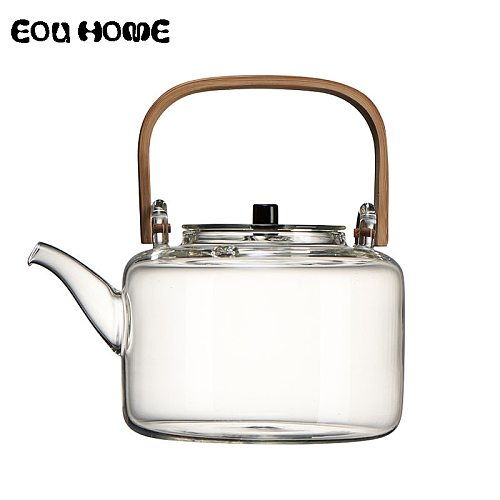 1100ml Glass Teapots Heat-resistant Explosion-proof Boiled Teapot Kung Fu Tea Set Boiled Water Special Bamboo Handle Beam Pot