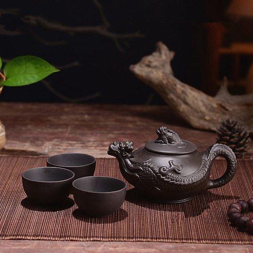 150ml Yixing Teapot Purple Clay Kung Fu Tea Set Handmade Dragon Elephant Squirrel Tea Pot With 3pcs Cup Set