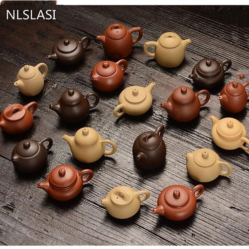 NLSLASI1 PCS Purple Clay Finger Teapot Tea Pet Small Pocket tea Set Ornaments tea Accessories Boutique Tea Table Decoration