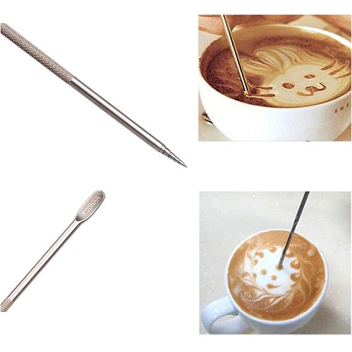1Pc Useful Stainless Steel Barista Cappuccino Latte Espresso Coffee Decorating Pen Art Household Kitchen Cafe Tools