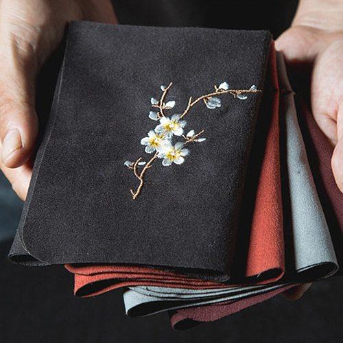 Vintage Embroidered Tea Napkins Cloth Fish Plum Flower Pattern Bowl Teapot Cleaning Towel Desktop Tea Ceremony Accessory