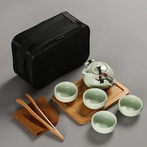 Chinese Tea Travel Tea Set Kung Fu Tea Set Ceramic Portable Teapot Porcelain Teaset Gaiwan Tea Cups of Tea Ceremony Tea Tool