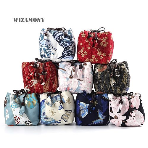 WIZAMONY Sample Cup and pot Cloth bag cotton and linen Tea Cozies Storage Bags Thicken with Soft Nap Hop-pocket Cloth Bag