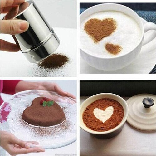 Stainless Steel Chocolate Shaker Cocoa Flour Coffee Sifter + 16Pcs Coffee Stencils Template Strew Pad Duster Spray barista tools