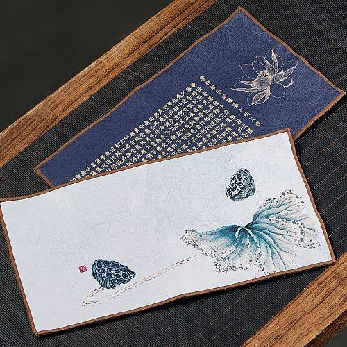 Suede Tea Towel Cloth Thickened Absorbent High-End Yixing Clay Teapots Zen Table Mat Tea Mat Kung Fu Tea Utensils Tea Napkin