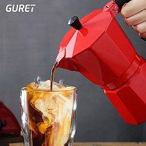 GURET Coffee Maker Pot Aluminum Mocha Espresso Percolator Pot Coffee Kettle Cafetera Home Outdoor Stovetop Cafe Tools Red