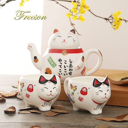 Cute Japanese Lucky Cat Porcelain Tea Set Creative Maneki Neko Ceramic Tea Cup Pot with Strainer Lovely Plutus Cat Teapot Mug