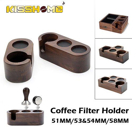 Coffee Filter Tamper Holder Tamper Stand Beech Walnut Wood Espresso Distributor Mat Support Base Rack Barista Tools Accessories