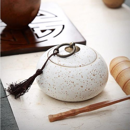 Modern Style Ceramics Little Tea Caddy Chinese All Kinds of Tea Storage Box Crude Pottery Canister Container for Puer Tea