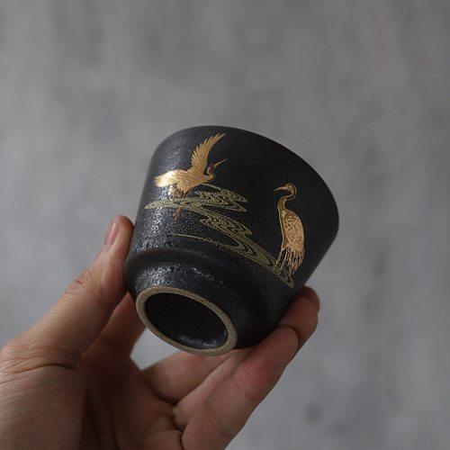 LUWU black crockery ceramic teacup porcelain tea cup chinese kung fu cup 100ml