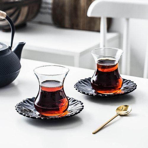 Nordic Light Luxury Turkey Black Tea Mug Tray Kit Cheap Cafe Bohea Glass Teacup Espresso Coffee Cup Saucer Set Tumbler Wholesale