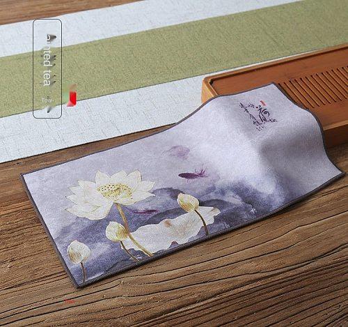Tea Towel Zen Painted Velvet Absorbent Tea Cloth Small Tea Mat Teapot Heat Proof Mat Tea Art Tea Ceremony Accessories