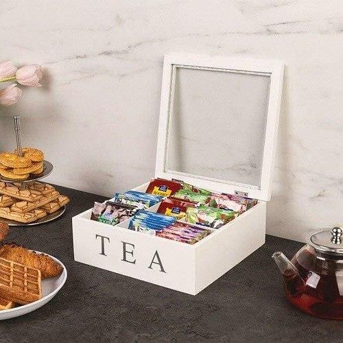 Wooden Tea Box With Lid 9 Grids Retro Style Coffee Tea Bag Storage Rack Storage Box Transparent Top Lid Multi-grid Cabinets Box