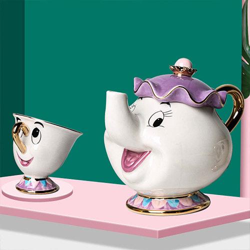 New Cartoon Beauty And The Beast Teapot Mug Mrs Potts Chip Tea Pot Cup One Set Lovely Christmas Gift Fast Post