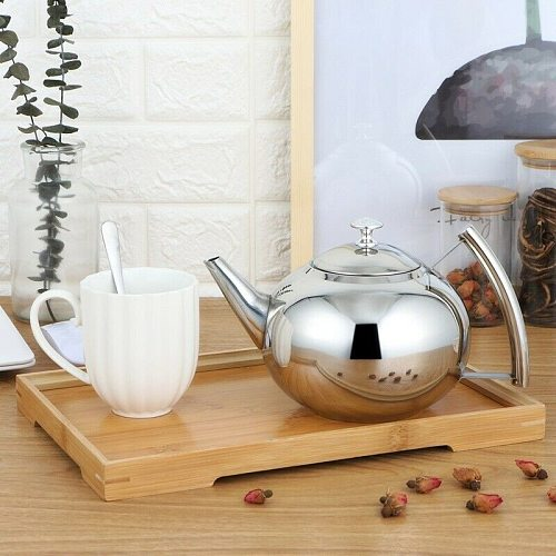 Large Capacity Stainless Steel Teapot Container Coffee Pot Kettle Filter Restaurant Container Home Hotel Cafe Bar Teapot