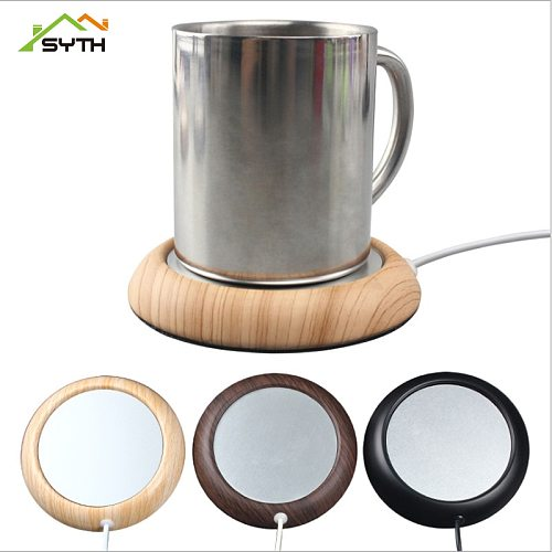 USB  Coffee Cup Office Milk Tea Wood Grain Cup Warmer Heat Beverage Mug Mat Keep Drink Warm Heater Mugs Coaster