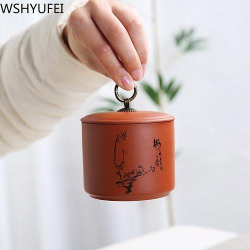 Chinese Purple Clay tea jar travel tea bag storage box Portable Sealed Tea caddy coffee canister Kitchen spice organizer