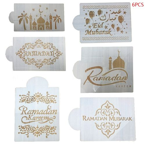 6Pcs/Set Eid Mubarak Ramadan Coffee Flower Spray Stencils Cake Decorating DIY Template Sugar Powder Sieve