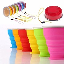 1Pc 200ml/240ml Portable Silicone Retractable Folding Cup With Lid Telescopic Collapsible Drinking Cup Outdoor Travel Water Cup