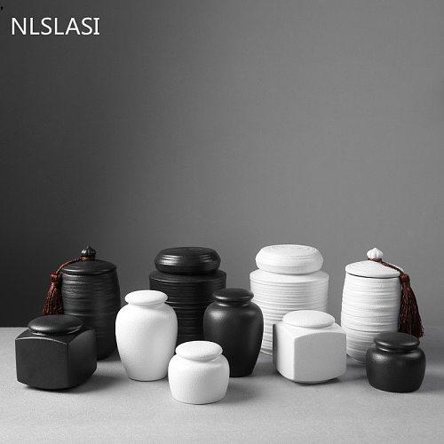 Large capacity black pottery tea can Portable Sealed Jar travel Tea Caddy Storage Spice Tea Boxes Candy storage tank Home Decor