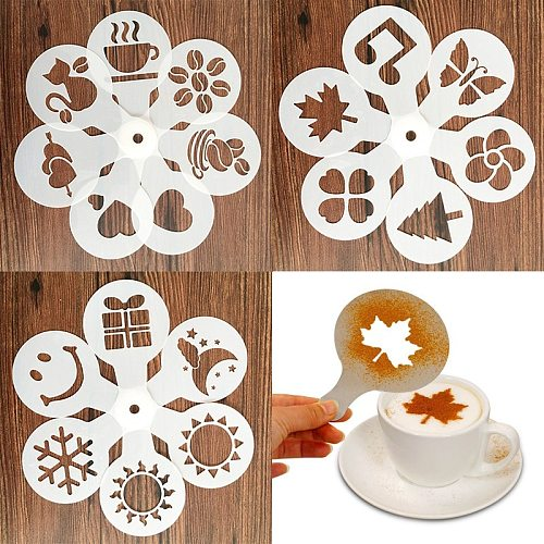 New 19 Pcs/set Fancy Coffee Printing Model Foam Spray Cake Stencils Coffee Drawing Cappuccino Mold Powdered Sugar Sieve Tools