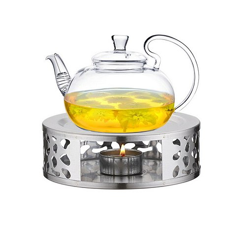 Small Stainless Steel Japanese Tea Warmer Round Tea Maker Candle Base Tea Warmer Heater Tea Seat