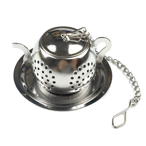 1pcs Tea strainer Teapot Shape Loose Tea Infuser Stainless Steel Leaf Tea Maker Strainer Chain Drip Tray Herbal Spice Filter
