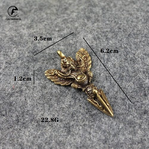 Retro Copper Tibetan Supplies Exquisite Roc Garuda Golden-Winged Peng Bird Vajra Amulet Pendant Charm Keychains Tea Deedle