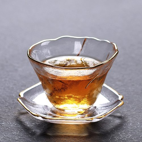 Thickened Galss Tea Cup and Saucer Set Creative Beautiful Gold Line Chinese Teacup Crystal Small Tea Cup Wine Cup
