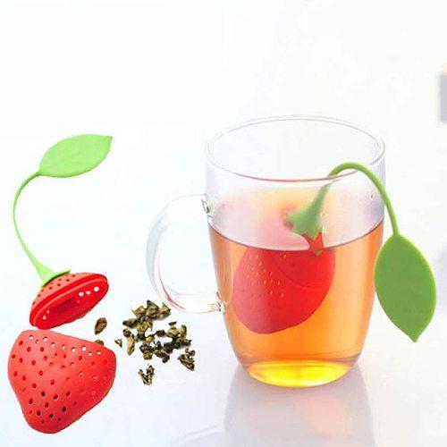 1 PCS Kitchen Supplies Tea Strainer Non-toxic Strawberry Shape Silicone Tea Infuser Tea Bag Teapot Accessory