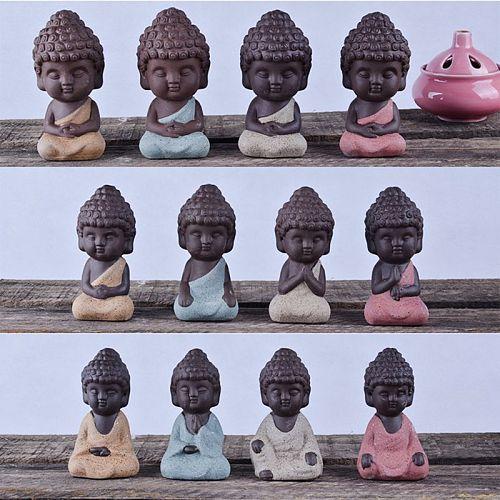 4 traditional cute little Buddha statues, Indian mandala sculpture tea pets C63B