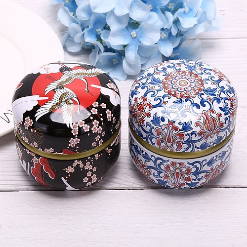 Universal Metal Mini Sealed Tank Round Moisture-Proof Coffee Canister Travel Box Portable Travel Flower Tea Box Tea Caddy Cans