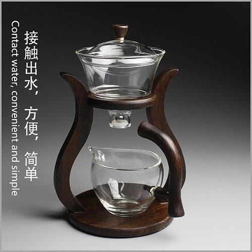 Heat-resistant glass tea set magnetic water diversion rotating cover bowl semi-automatic tea maker lazy teapot Kungfu tea set